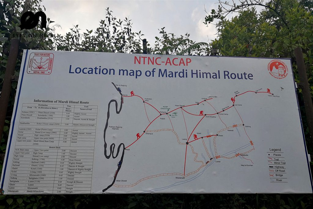 Mardi Himal Trek Route Map